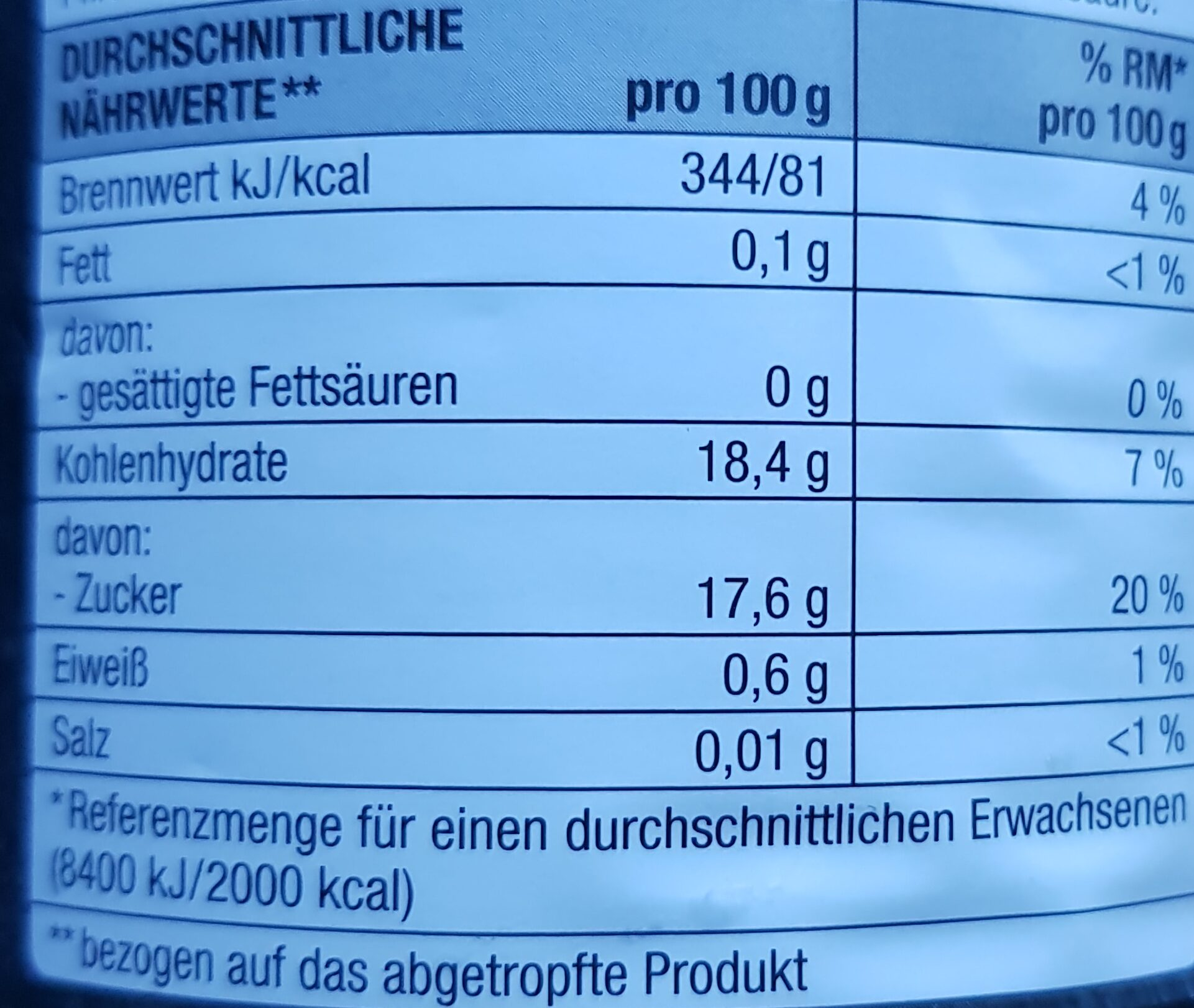 Tortenpfirsiche - Informations nutritionnelles - de