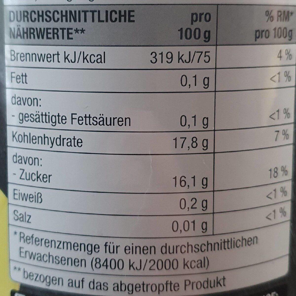 Williams Christ Birnen Gezuckert, Halbe Frucht - Nutrition facts - de