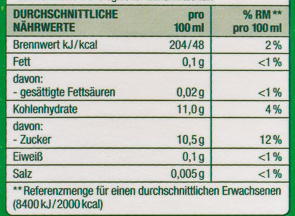 Apfelsaft - Nutrition facts
