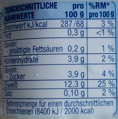 Speisequark Magerstufe - Nutrition facts - de