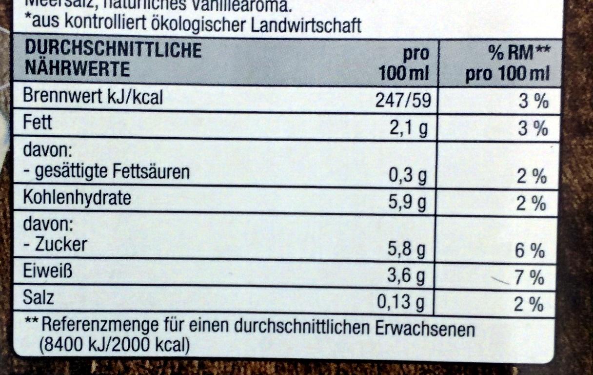 Sojadrink Vanille - Valori nutrizionali - de