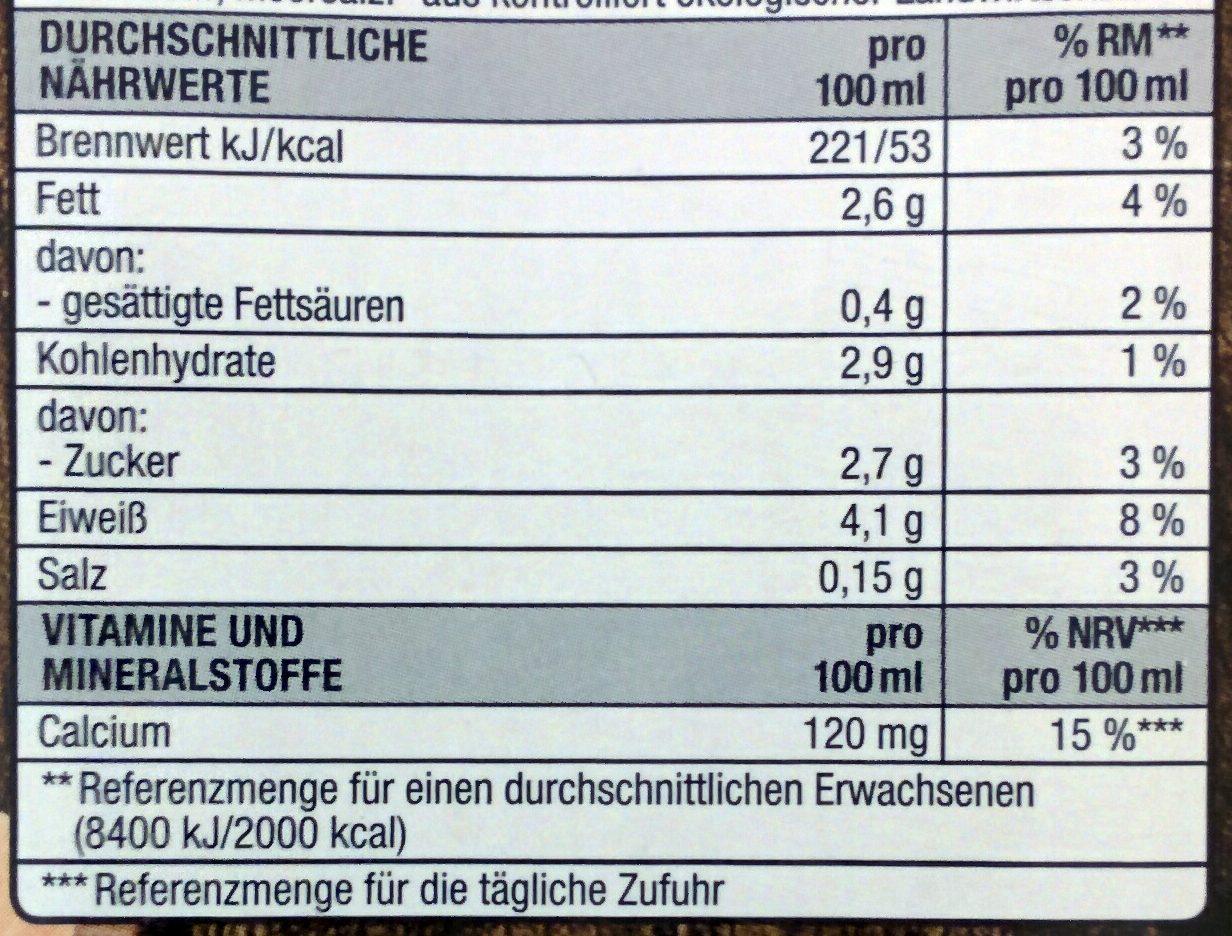 Sojadrink - Valori nutrizionali - de