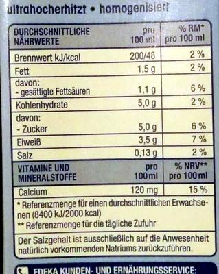 Fettarme H-Milch ultrahocherhitzt homogenisiert - Voedigswaarden