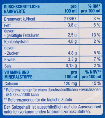 H-Vollmilch - Informations nutritionnelles