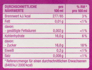 Traubensaft - Nutrition facts - de