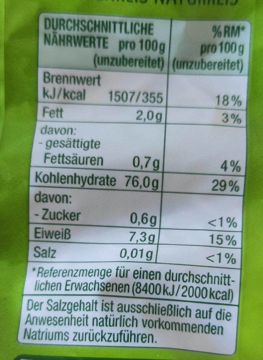 Natur-Reis langkorn spitzreis - Valori nutrizionali - de