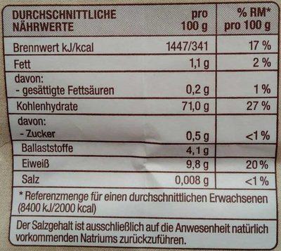 Weizenmehl Type 550 - Voedigswaarden