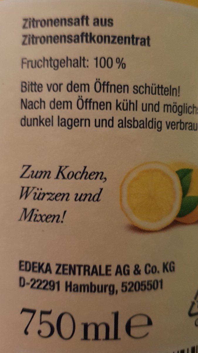 Zitronensaft - Ingrédients