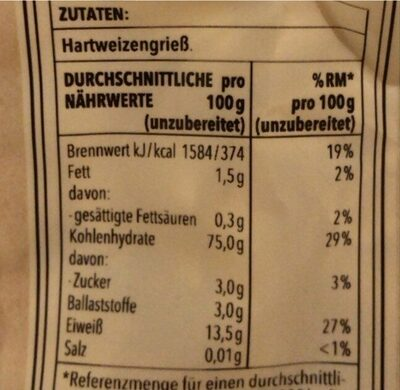 Penne Rigate - Valori nutrizionali - de
