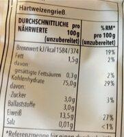 Maccaroni - Valori nutrizionali - de
