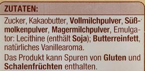 Couverture Weiß - Ingrediënten