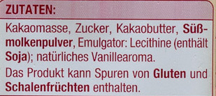 Couverture Zartbitter - Edeka - 200 G - Ingredients