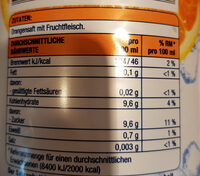 Premium Orange direkt gepresst - Voedigswaarden