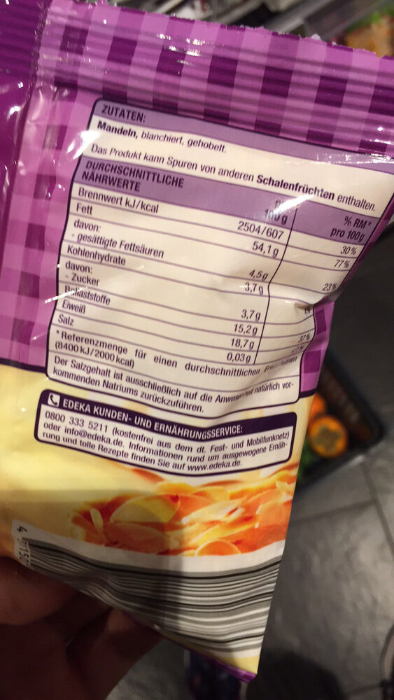 Mandeln gehobelt - Nutrition facts