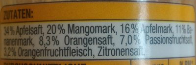 Smoothie Apfel-Mango-Banane-Orange-Passionsfrucht - Ingredients