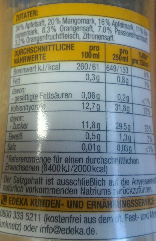 Smoothie Apfel-Mango-Banane-Orange-Passionsfrucht - Nutrition facts