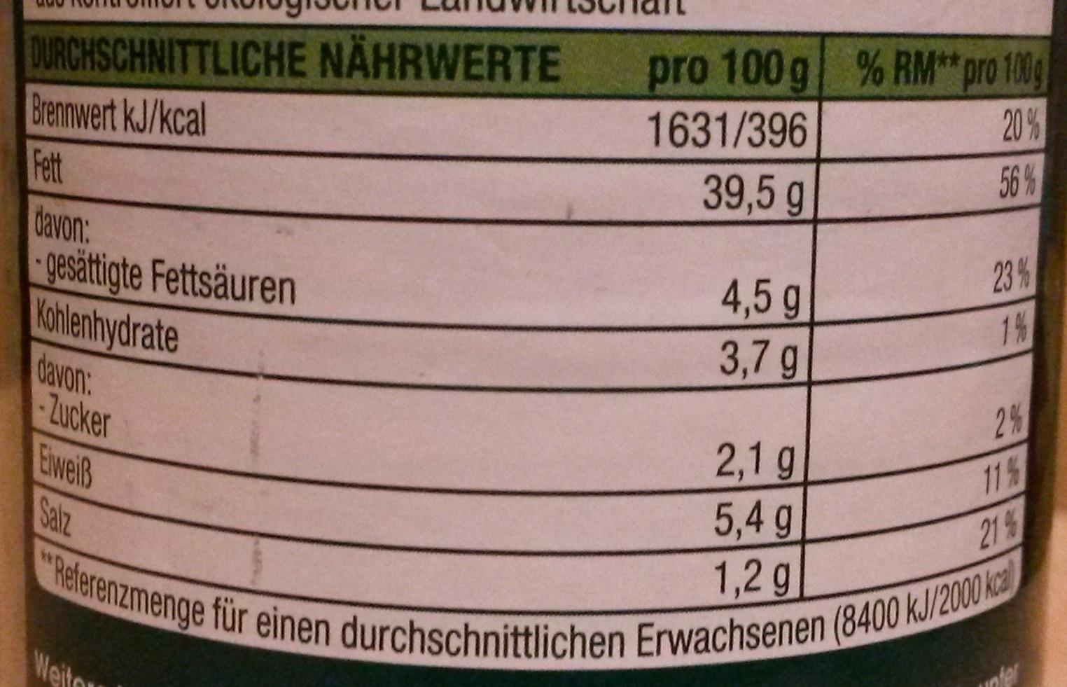 Edeka Bio Bärlauch - Nutrition facts - de