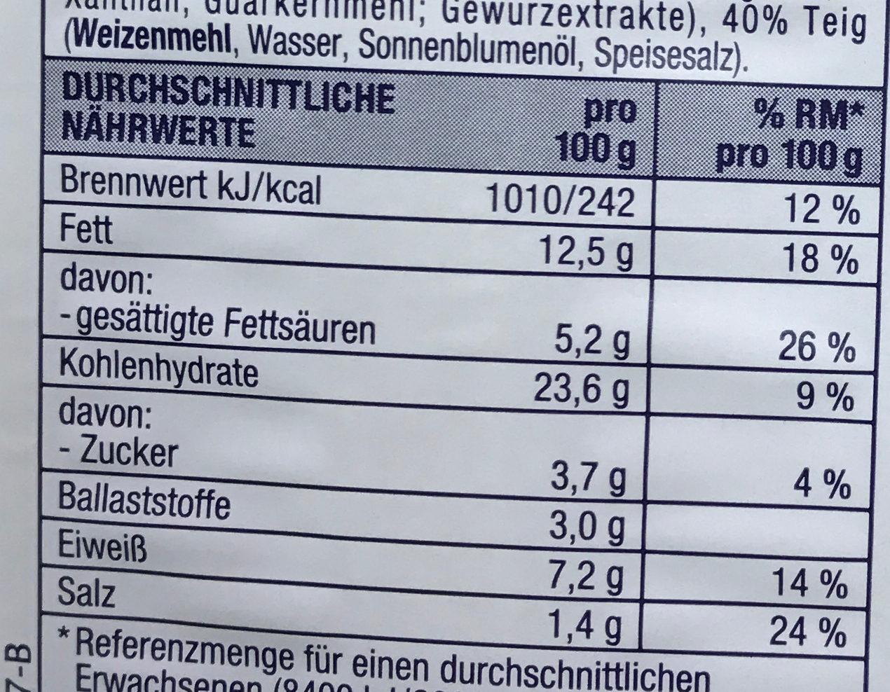 Elsässer Flammkuchen - Informations nutritionnelles - de