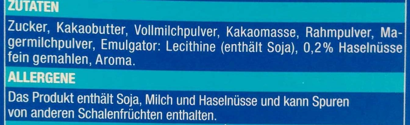 Schweizer Edel Vollmilch - Ingrédients - de
