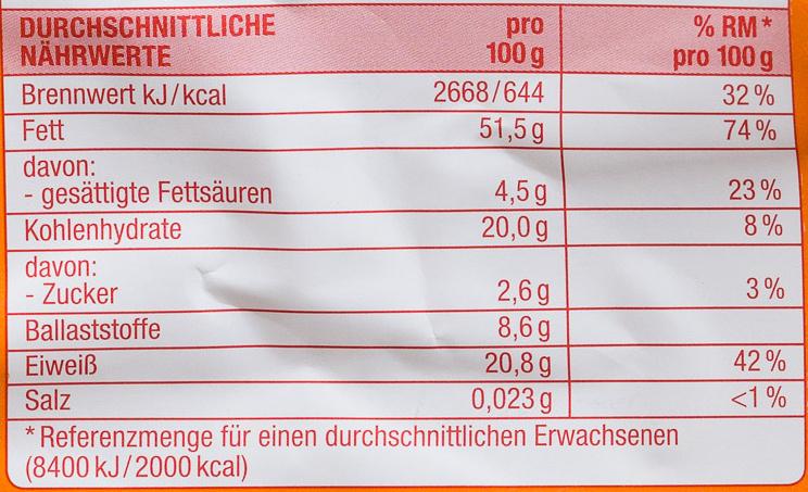 Sonnenblumen Kerne - Informations nutritionnelles - de