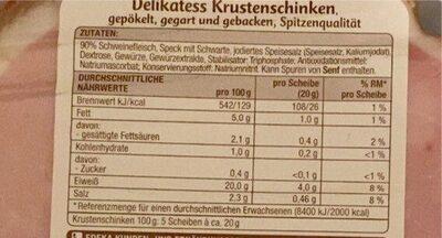Delikatess Krustenschinken, Gepökelt Und Gegart - Nährwertangaben - de