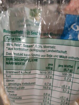 Edeka Bio Reiswaffeln mit Meersalz, Reiswaffeln - Ingrédients