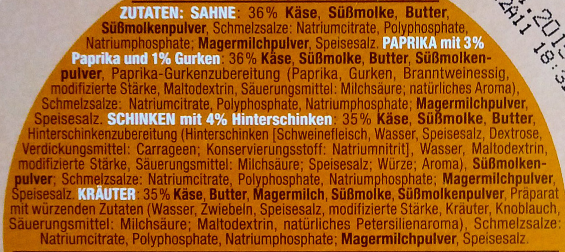 8 Käse-Ecken Mix-Box - Ingrédients - de