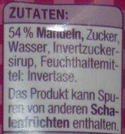 Marzipan Rohmasse - Inhaltsstoffe - de