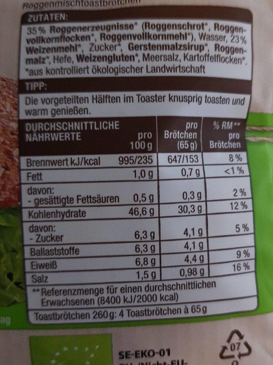 Edeka Bio Finnisch Toasties - Nährwertangaben - de