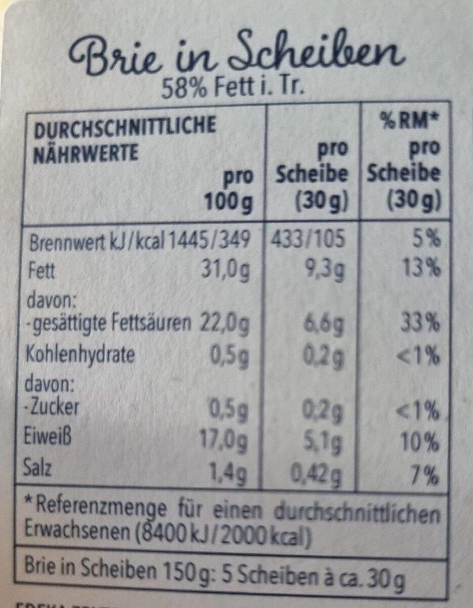 Brie in Scheiben - Valori nutrizionali - de