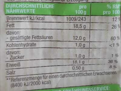 Mozzarella in Lake - Informations nutritionnelles
