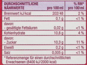 Heimische Früchte Apfel Johannisbeer Kirsch Direktsaft - Nutrition facts - de