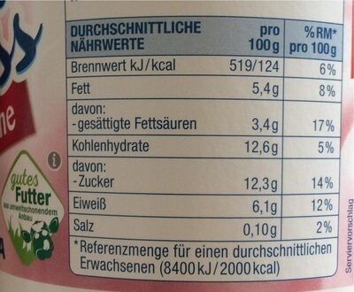 Quarkiger Genuss Kirsche - Nutrition facts - de