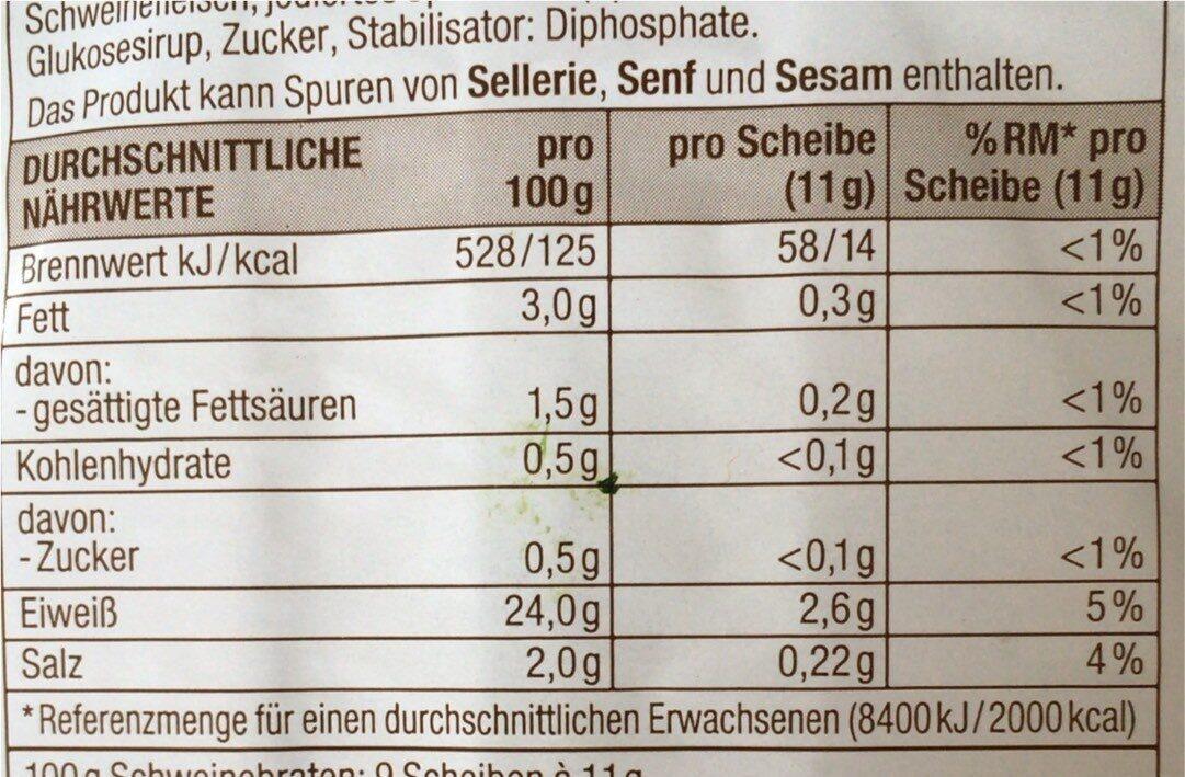 Traditioneller Schweinebraten - Informations nutritionnelles - de