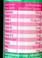 Magnesium Brausetabletten - Nährwertangaben