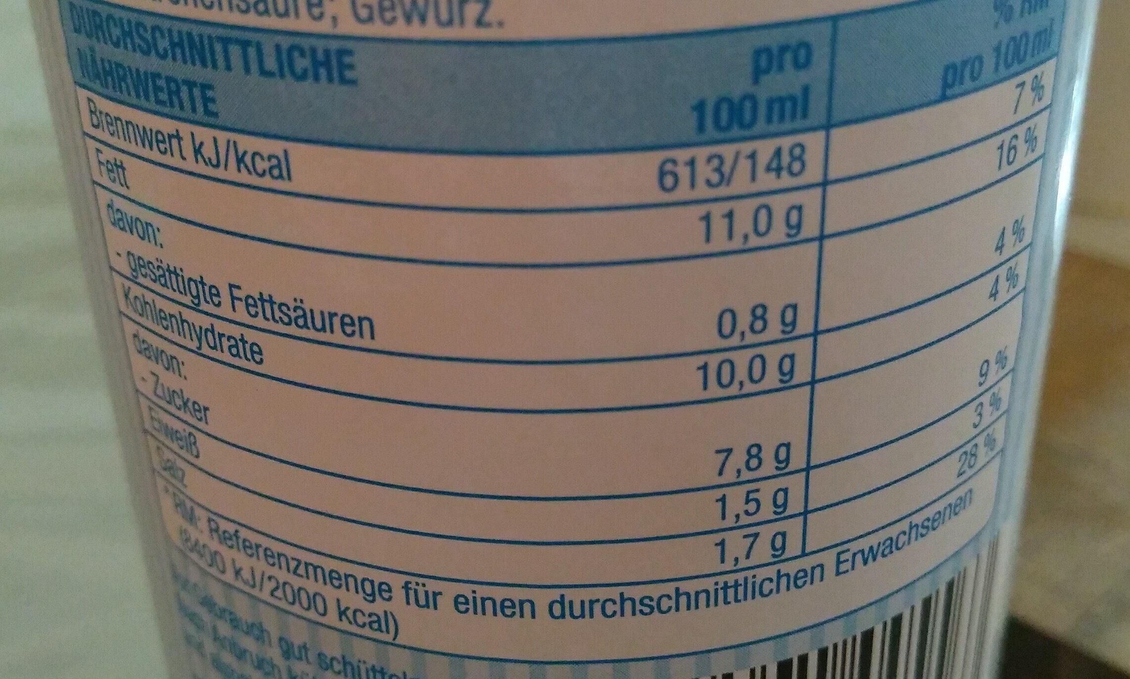 Joghurtdressing - Nährwertangaben - de