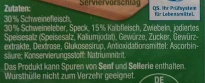 Kalbfleisch-Leberwurst - Ingredients - de