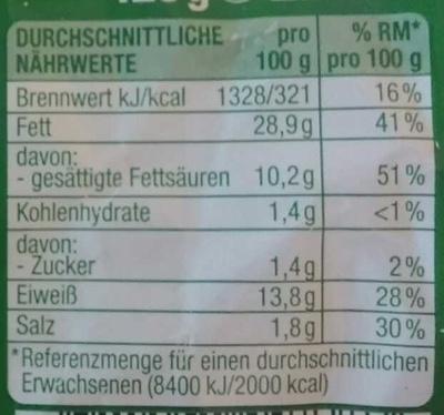 Kalbfleisch-Leberwurst - Nutrition facts - de