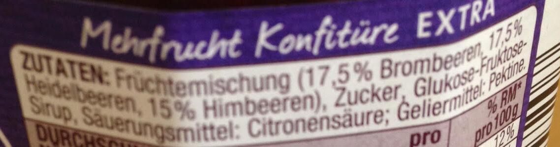 Waldfrucht Konfitüre Extra - Ingredienti - de