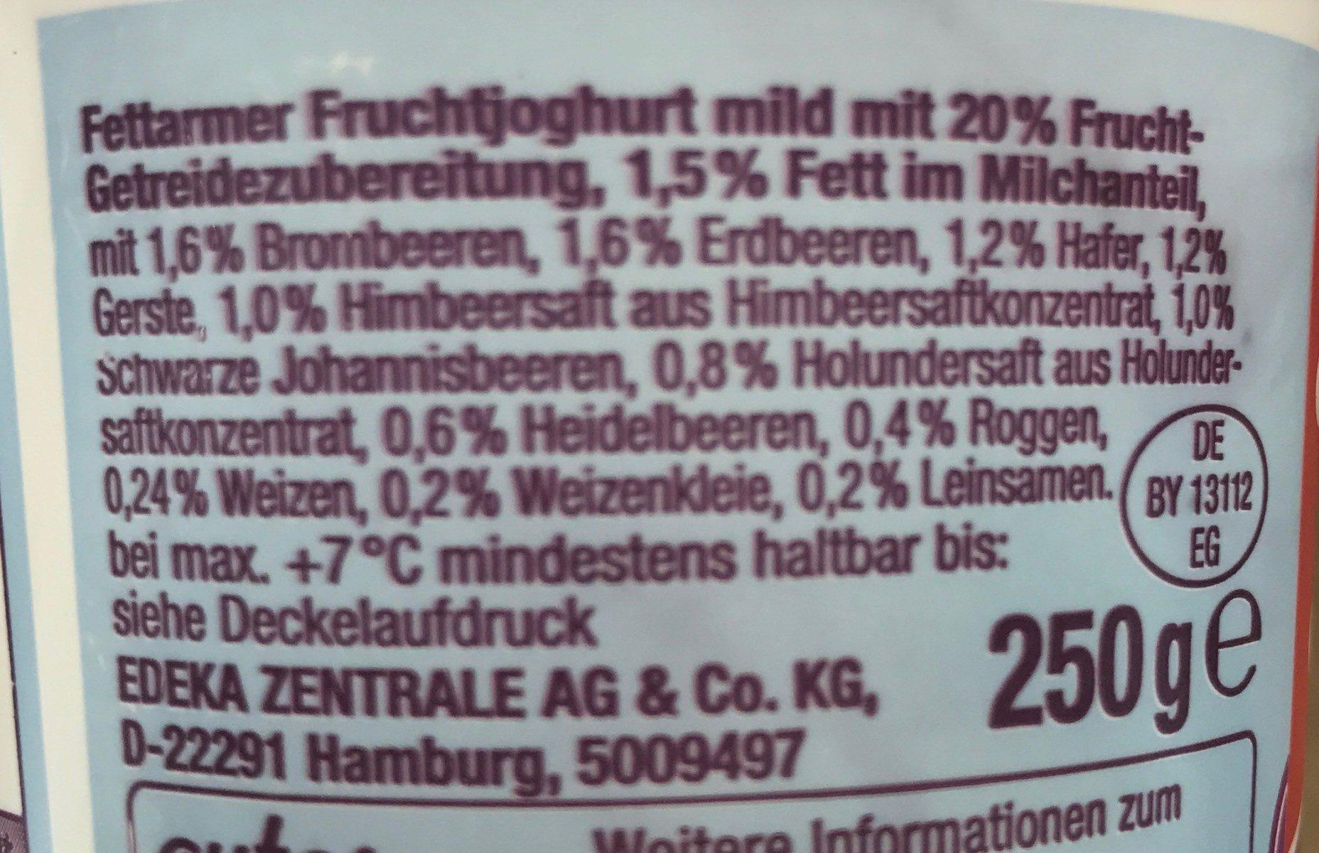 4-Korn Fettarmer Fruchtjoghurt Mild - Ingrédients - fr