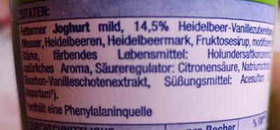 Heidelbeer Vanille Fruchtjoghurt - Ingrédients - de