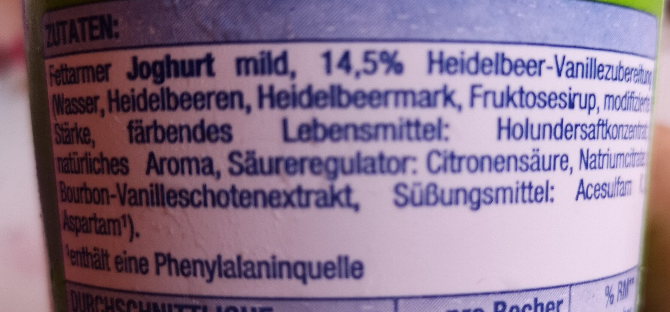 Heidelbeer Vanille Fruchtjoghurt - Ingredients