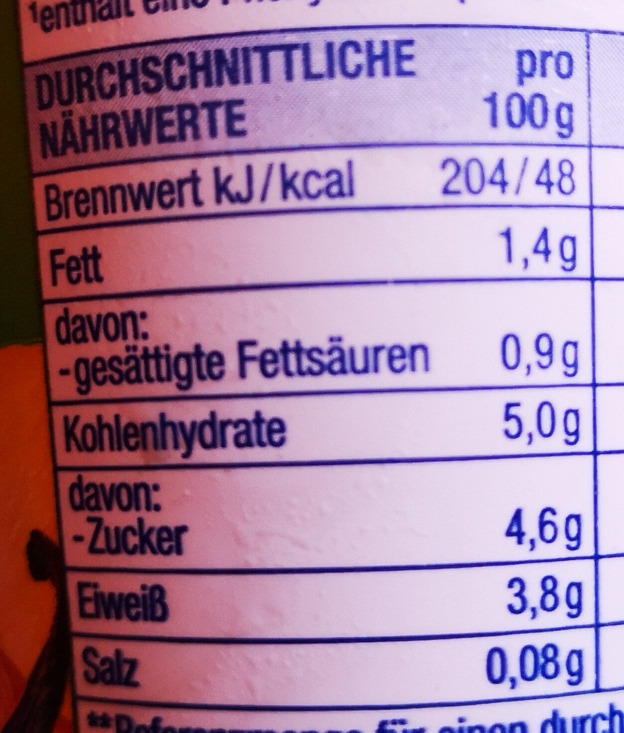 Heidelbeer Vanille Fruchtjoghurt - Nutrition facts