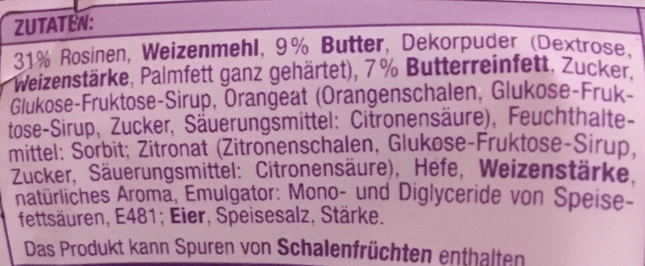 Butter Stollen - Ingrédients - fr