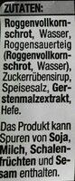 Pumpernickel aus Roggenvollkornschrot - Ingrédients - de