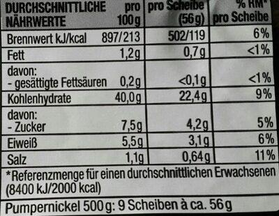 Pumpernickel aus Roggenvollkornschrot - Informations nutritionnelles - de