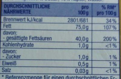 Streichzart ungesalzen - Nutrition facts