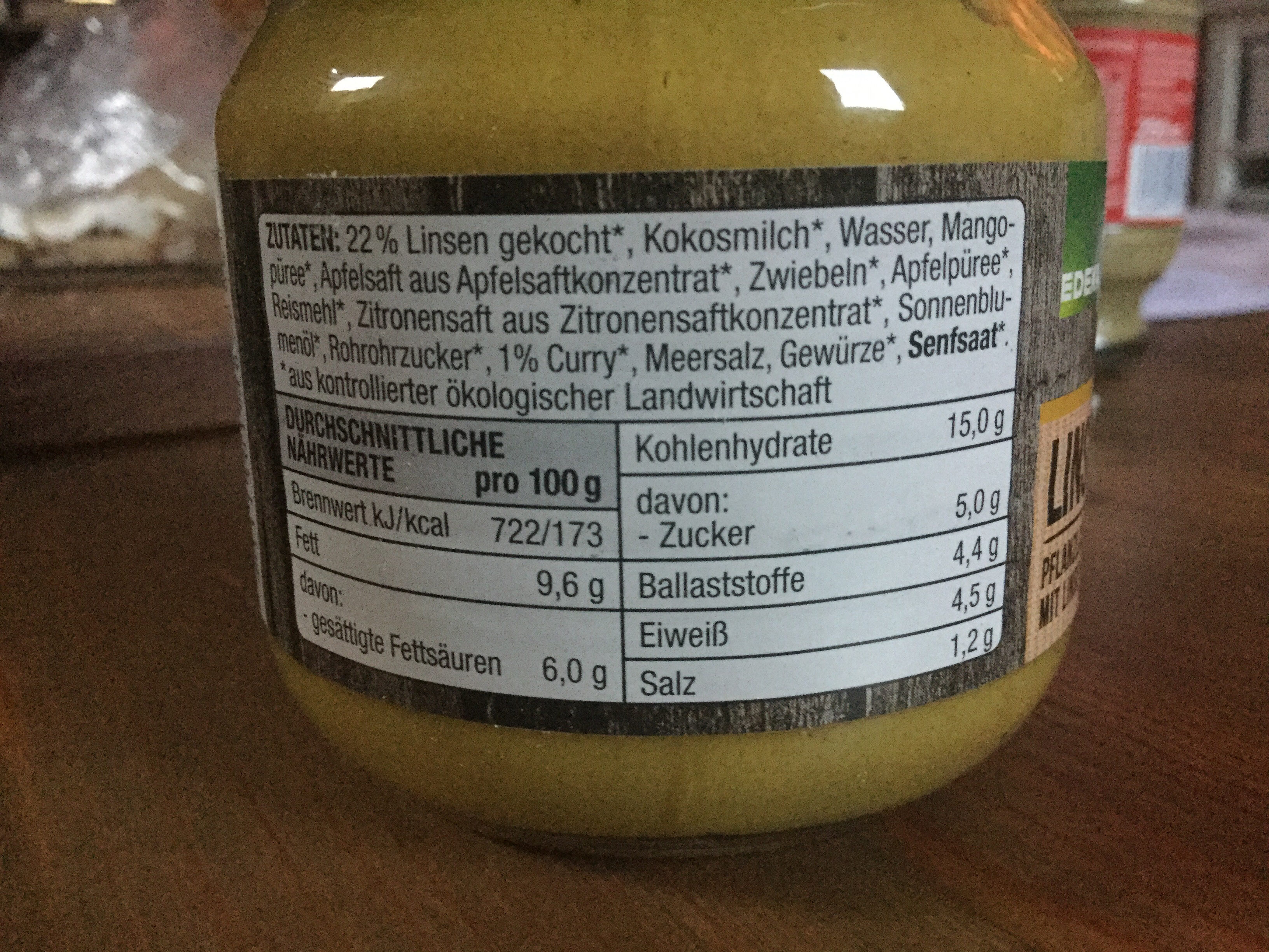Edeka Linse curry - Nutrition facts - en