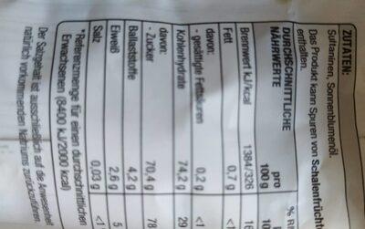 Aromatische Sultaninen - Informations nutritionnelles - de