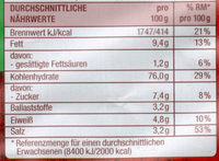 Ofenchips Paprika - Nährwertangaben